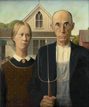wikipedia: American Gothic, Grant Wood 1930
